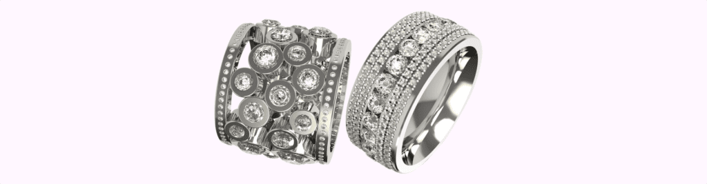 diamond his and hers wedding rings