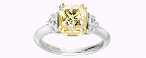 Luxury jewellery -natural yellow diamond three stone ring