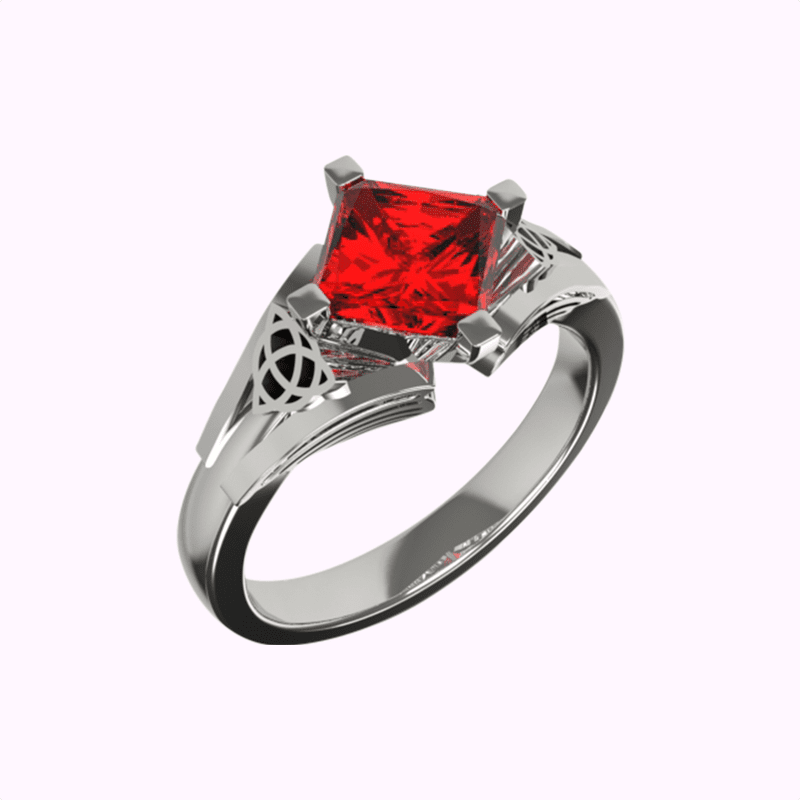 Celtic ruby and diamond bespoke engagement ring | David Law
