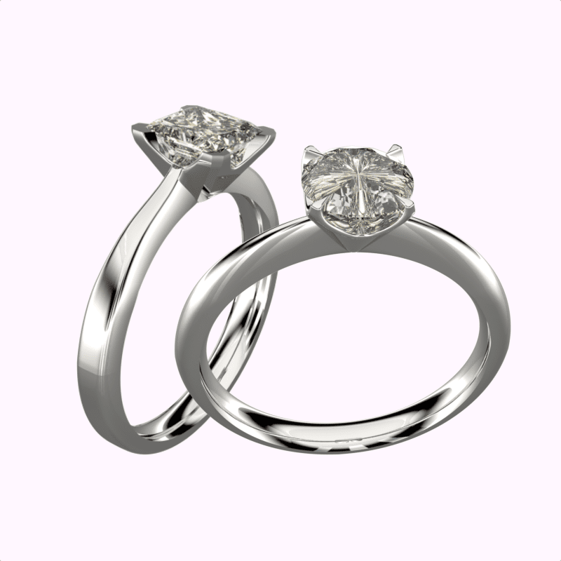 princess and brilliant cut contemporary styled engagement rings | David Law