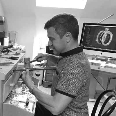 bespoke engagement rings being made by David Law