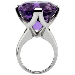 antique cushion cut amethyst dress ring set in 18ct white gold