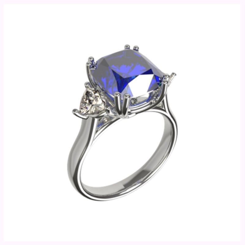cushion cut sapphire and diamond platinum engagement ring
