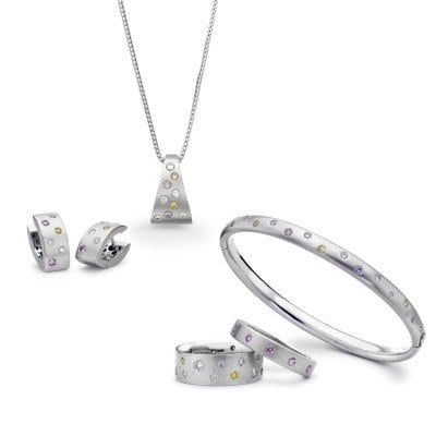 Bespoke Jewellery Gift Set - Natural Diamond set Earrings, Pendant, Bangles & Ring | David Law