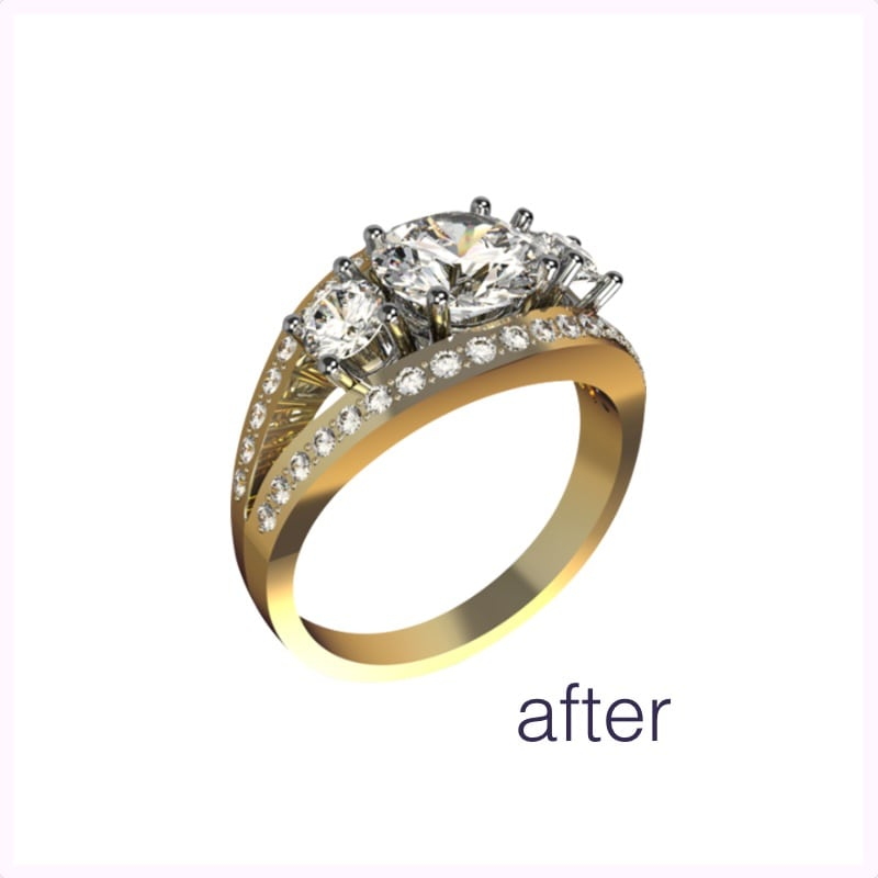 Remodelling heirloom jewellery into a custom made gold and diamond engagement ring. The end result.