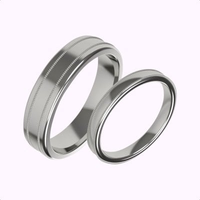 Millgrain-matching-ladies-and-gents-wedding-rings