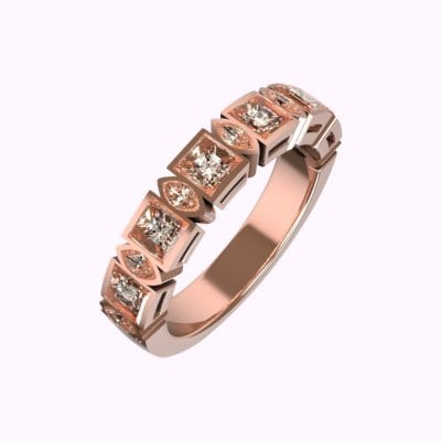 Rose Gold Marquise, Brilliant Cut Diamond Eternity Ring | David Law