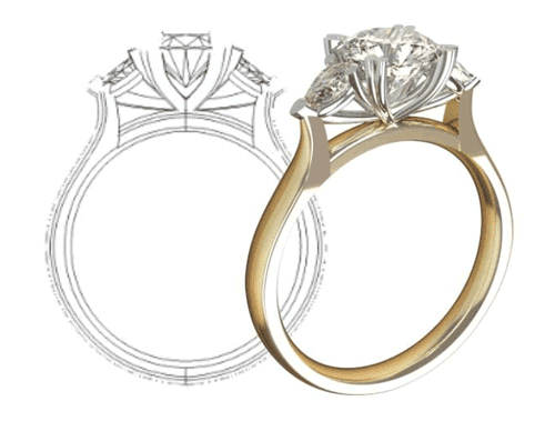 Custom Diamond Engagement Ring Design. From design to the finished piece.