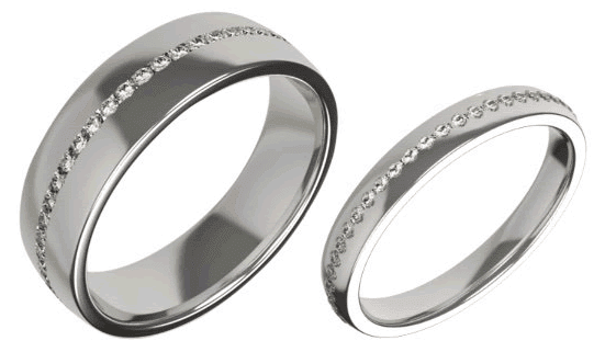 His and Hers matching diamond eternity rings.