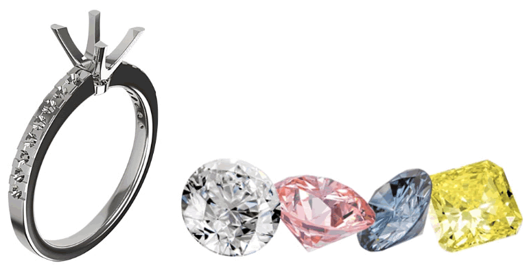 A selection of gemstones that can be used in the creation of your custom engagement ring.