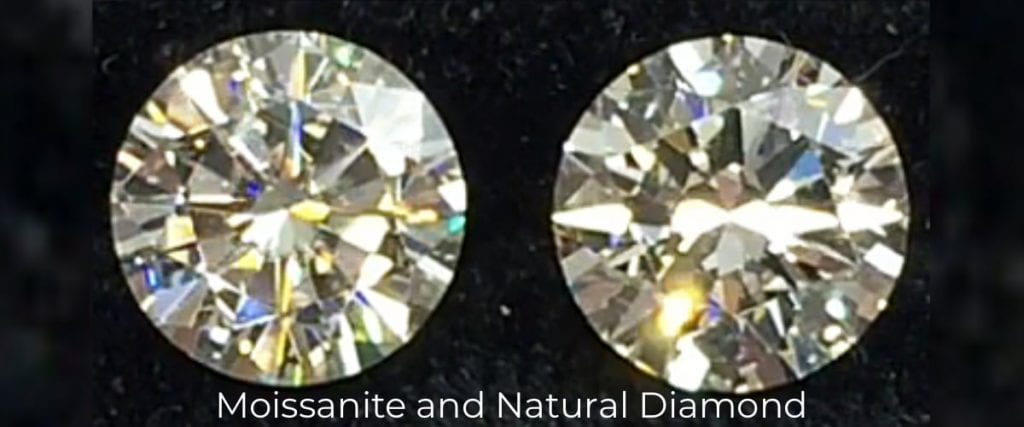 Moissanite and Natural Diamond