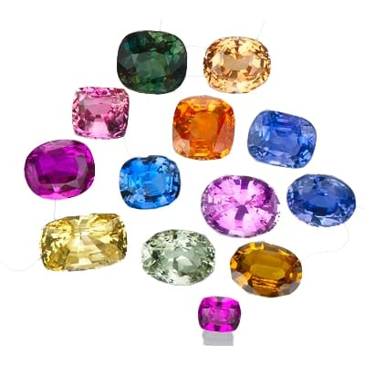 a collection of coloured gemstones