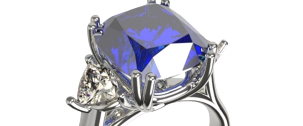 cushion cut sapphire and diamond platinum engagementy ring