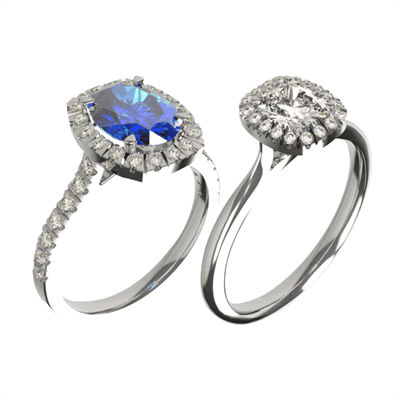 sapphire and diamond halo bespoke engagement rings | David Law Jewellery