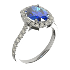Oval sapphire and diamond halo platinum unique engagement ring
