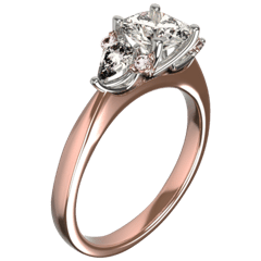 Rose gold and platinum white and pink diamond engagement ring