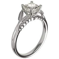 Unique platinum Celtic princess cut diamond engagement ring