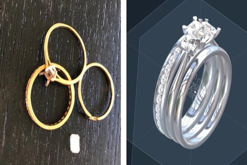 remodelling bespoke engagement ring, wedding ring and eternity ring
