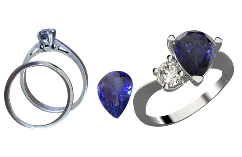 remodelling old jewellery and a loose pear shape sapphire