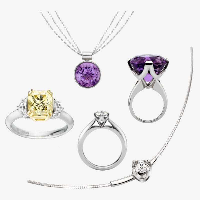 natural yellow gold platinum and diamond engagement ring, diamond solitaire engagement ring and amethyst pendant and dress ring