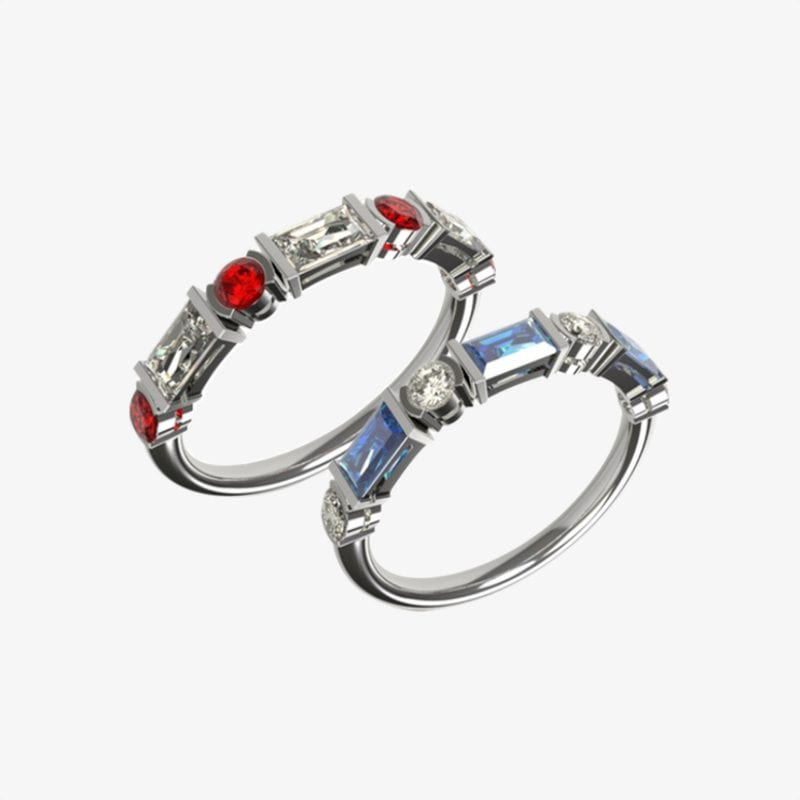 bespoke sapphire and diamonds and ruby and diamond eternity rings