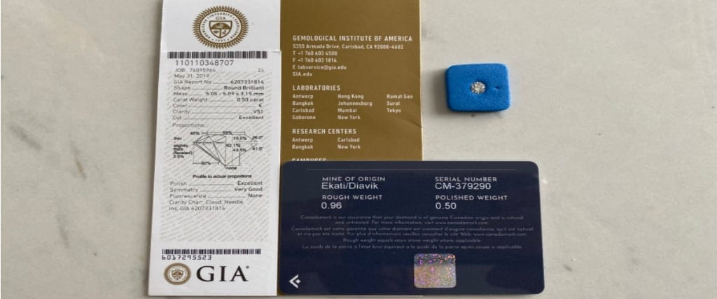 Canadian diamonds cerified by GIA
