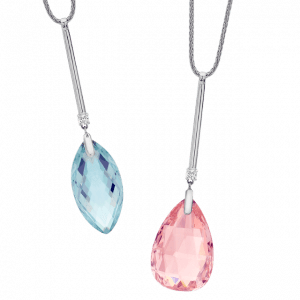 bespoke drop pendants set with diamonds aquamarine and pink tourmaline