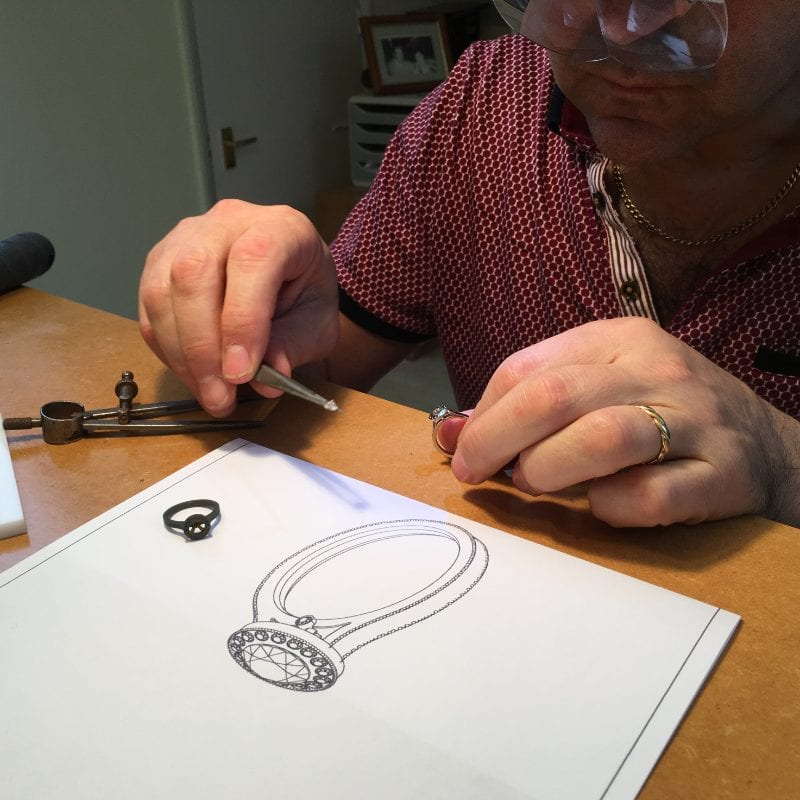 Bespoke engagement ring being created at the bench in Hatton Garden