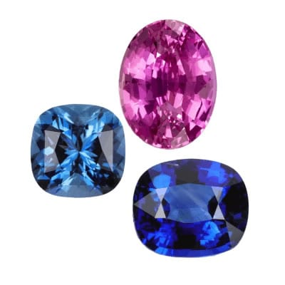pink and blue sapphire gemstones