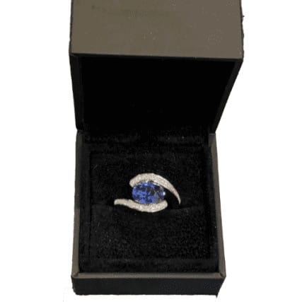 oval sapphire and diamond twist bespoke engagement ring