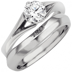 brilliant cut engagement ring with matching fitted wedding ring