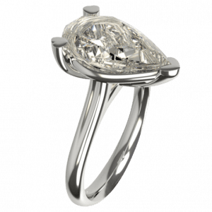 platinum pear shaped diamond engagement ring design