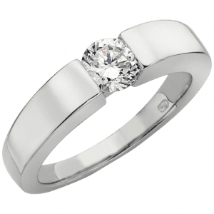 platinum tention set diamond engagement ring