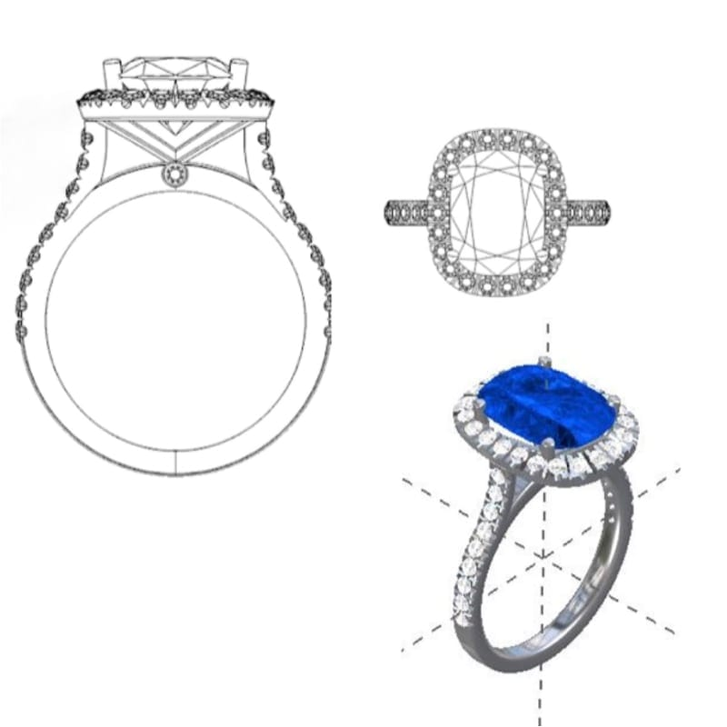 cad drawings of sapphire and diamond platinum halo ring