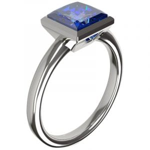 ring designed bezzel set sapphire solitaire engagement ring