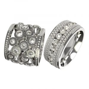 unusual erternity rings set with diamonds and made in platinum