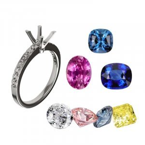 bespoke engagement ring setting and an array of gemstones