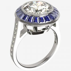 great gatsby sapphire and diamond bespoke ring