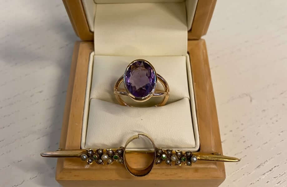 remodelling a pearl and amethyst brooch into a dress ring