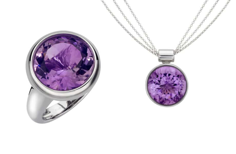 bespoke amethyst dress ring and matching pendant designed in East london