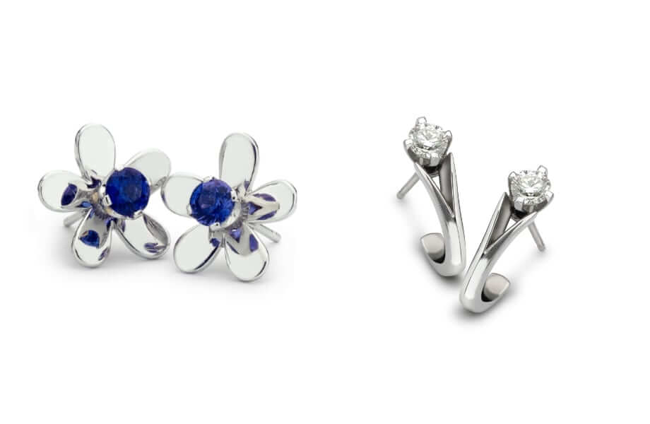 bespoke diamond earrings and sapphire flower earrings