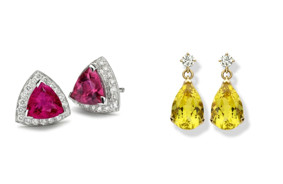bespoke gemstone and diamond set earrings