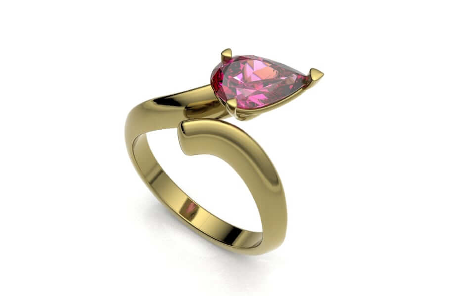 pear shape sapphire birthday ring