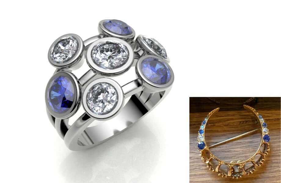 remodelled from a family heirloom a sapphire and diamond etertnity ring