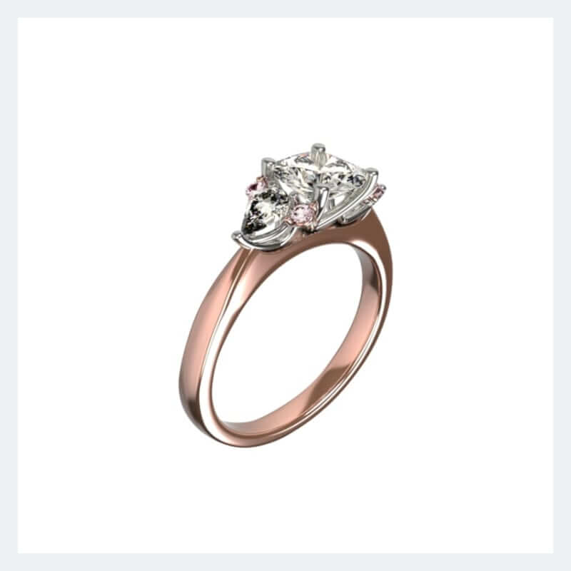 princess and pear-shaped rose gold and platinum bespoke engagement ring