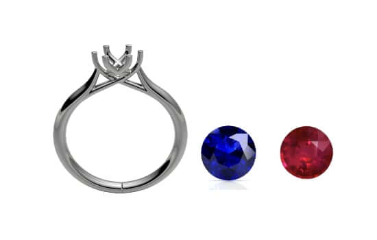 choice of sapphire and rubies